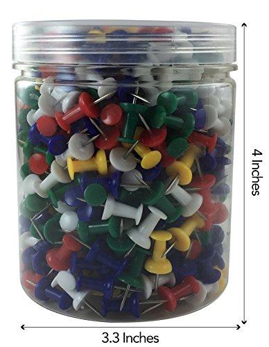 Clipco Push Pins Jar Assorted Colors (500-Count) Photo #5