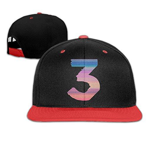 Cool Chance The Rapper Number 3 Snapback Hip-hop Baseball Cap Red (Hofstra Costume Shop)