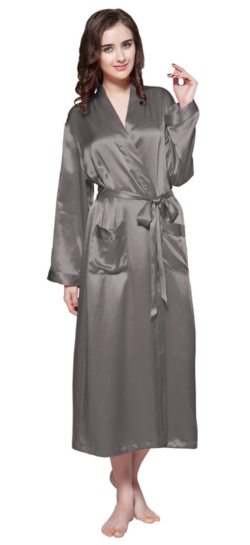 LILYSILK Women's Silk Robe with Pockets Long 22 Momme Pure Silk Dark Gray Size 4-6/S by LilySilk