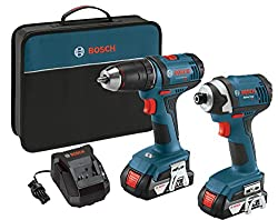Bosch 18v 2-tool Combo Kit With 12-inch Drilldriver, 14-inch Impact Driver Clpk26-181, 2 Batteries, Charger & Contractor Bag