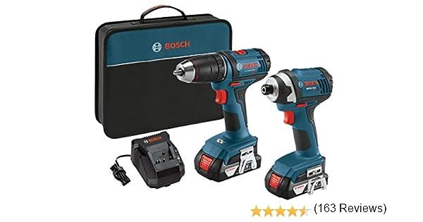 Bosch 18V 2-Tool Combo Kit con taladro de 1/2 pulgada/conductor, 1/4 pulgadas atornillador de impacto CLPK26-181, 2 baterías, cargador y bolsa de contratista: Amazon.es: Bricolaje y herramientas