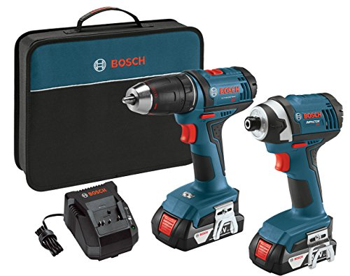 Bosch 18V 2-Tool Combo Kit with 1/2-Inch Drill/Driver, 1/4-Inch Impact Driver CLPK26-181, 2 Batteries, Charger and Contractor Bag Bosch Impact Drill