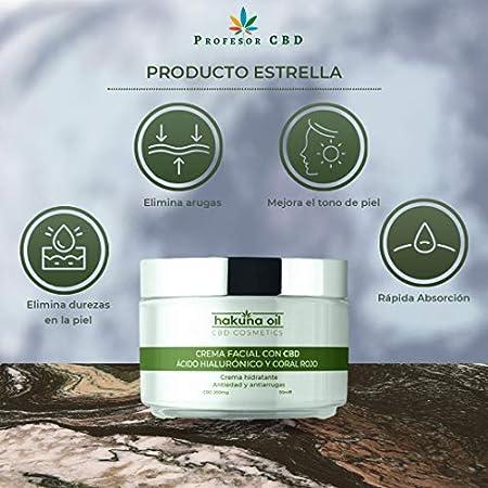 - Hakuna Oil Cosmetics - Crema facial con aceite de Cáñamo   50 ml   Antiarrugas con Ácido Hialurónico y Coral Rojo   hidrata, reafirma y tonifica   100% Orgánica, Ecológica BIO.