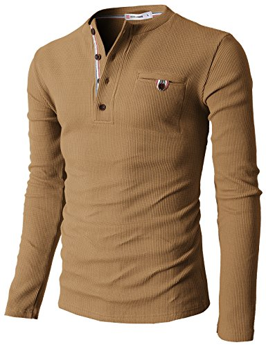 H2H Casual Henley Shirts Pocket