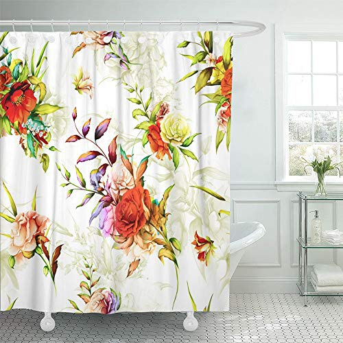 - Emvency Shower Curtain Waterproof Decorative Bathroom 72 x 72 inches Colorful Flower Floral Pattern Rose Pomegranate Rosemary with Leaves on Pastel Red Polyester Fabric Set with Hooks