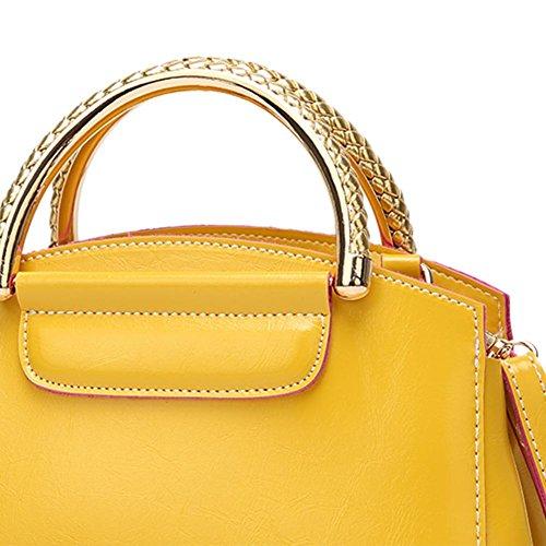 Domybest Leather Women Shoulder Casual Messenger Elegant Yellow Lady Handbags Simple Bags nrwgwH