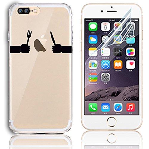 Sunroyal Case para iPhone 7 Plus TPU Transparente Funda Cubierta de Silicona Ultra delgado Impresión de Estuche Silicona Carcasa Trasera Flexible Bumper Case Cover Caja del Teléfono para iPhone 7 Plus A-16