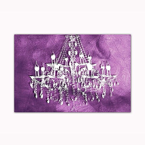 """Purple Chandelier Wall Decoration Digital Art Image Printed on 24""""X36"""" Canvas Stretched & Framed Ready to Hang From"""