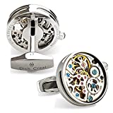 Dich Creat Men's Stainless Steel Open Side Cage Wind-up Skeleton Working Movement Cufflinks