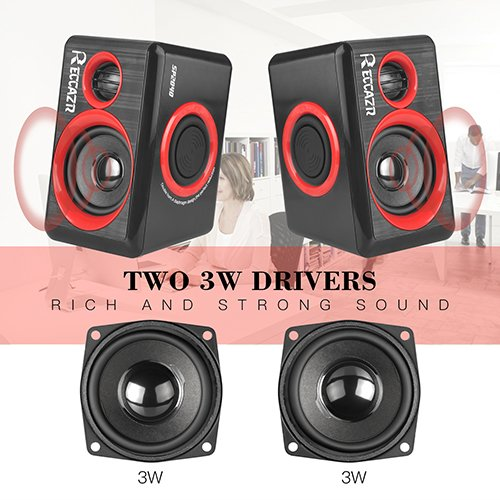 Surround Computer Speakers With Deep Bass USB Wired Powered Multimedia Speaker for PC/Laptops/Smart Phone RECCAZR Built-in Four Loudspeaker Diaphragm by RECCAZR (Image #2)'