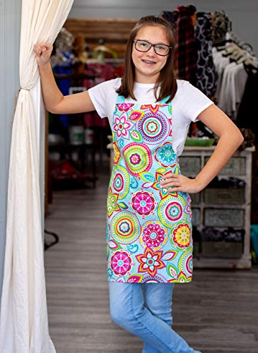 Handmade Colorful Aqua Baking Art or Craft Apron Gift for Tween Girl from Sara Sews, Inc.