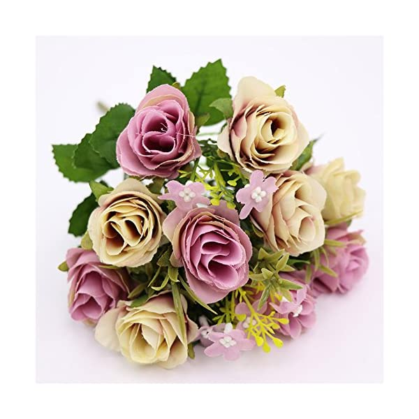 Artificial Rose Flowers,CATTREE Budding Fake Flowers Bouquet 5 Branch 10 Heads Artificial Silk Fake Flowers Leaf Rose Bridal Home Garden Office Dining Table Wedding Floral Decor Bouquet (Purple) 4pcs