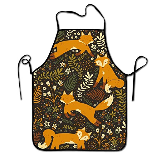 RESULT LOVE Flowers and Fox Wife Ladies Men Boyfriend Adjustable Apron for Kitchen