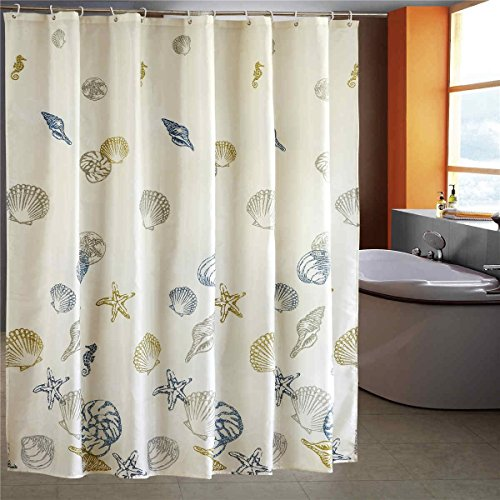 UPC 023437994162, LESOLEIL Shower Curtain Polyester Bathroom Waterproof 7272 Inch with Hooks (Cartoon Series: Sea Seashell)