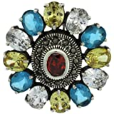 Sterling Silver Marcasite Large Flower Brooch Pin w/ Oval Cut Multi Color Stones, 1 9/16 in. (40mm)