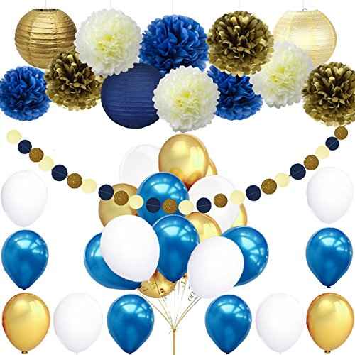 45pcs DIY Navy Blue Gold Party Decorations Supplies Blue Birthday Baby Shower Pary Decor Blue Gold Cream Paper Pom Poms Lanterns Balloons Dot Paper Garland Wedding, Bridal Shower Festival Party Decor ()