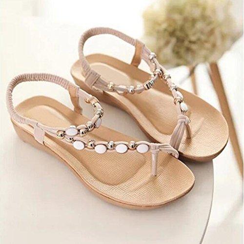 RoseSummer Fashion Womens Beach Beaded Belt Sandals Open Toe Casual Shoes Beige 2OWK1