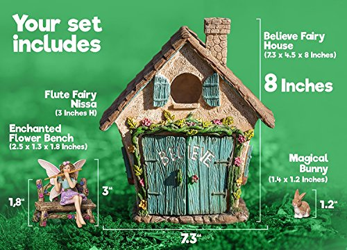 Joykick Fairy Garden House Kit - Hand Painted with Opening Doors and ...