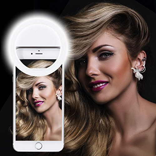 Selfie Ring Light, XINBAOHONG Rechargeable Portable Clip-on Selfie Fill Light with 36 LED for Smart Phone Photography, Camera Video, Girl Makes up (White, 36LED)
