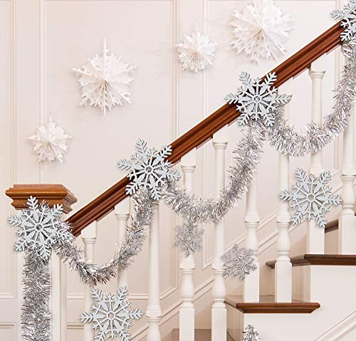 Party City Silver Christmas Stairway Decorating Kit, Holiday Home Decor, Includes Snowflakes and Fan Decorations