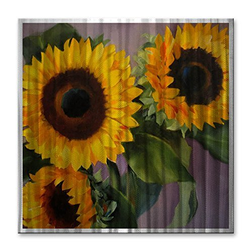 All My Walls Floral Metal Wall Art Painting Sculpture 'Sunflowers'