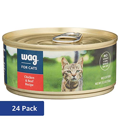 Amazon Brand - Wag Wet Cat Food, Chicken & Beef Recipe, 5.5 oz Can (Pack of 24)