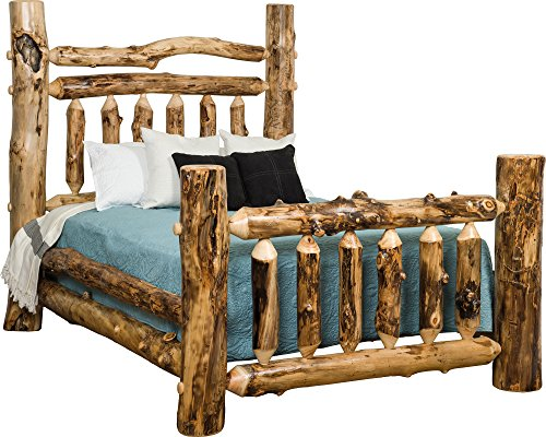 Log Aspen King Bed (Aspen Log Double Top Rail Grand Bed - King Size)