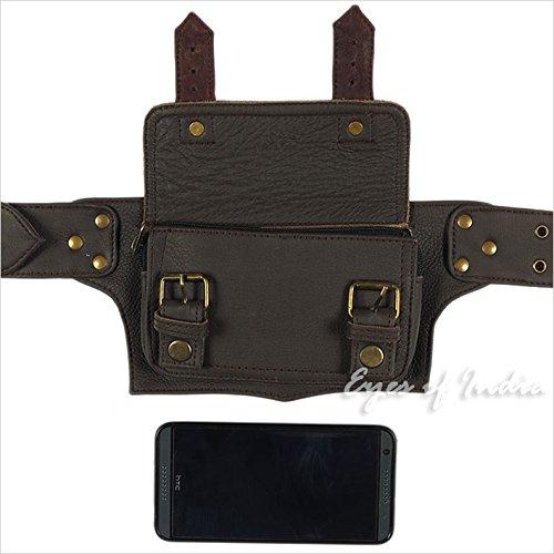 ee431731d Eyes of India - Black Leather Belt Waist Hip Bum Bag Pouch Fanny Pack  Utility Pocket larger image