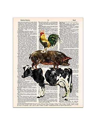 3 Stacked Farm Animals, Cow, Pig, Rooster, Farmhouse Decor, Dictionary Page Art, 8x11 UNFRAMED