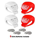 refun Bicycle Light, Front and Rear Silicone LED Bike Light Set, High Intensity Multi-Purpose Water Resistant Headlight, Taillight for Cycling Safety, Spare Batteries Included, 2 Each, Red and White
