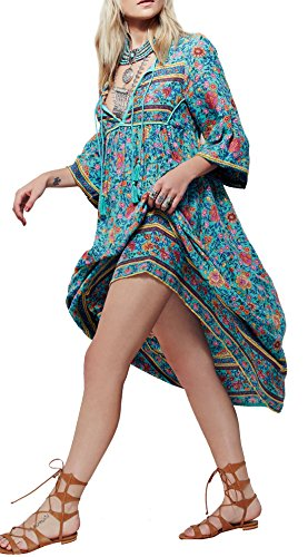R.Vivimos Women Sexy Deep V Neck Flower Print Long Sleeve Dresses 2XL (Sexy Mexican Woman)