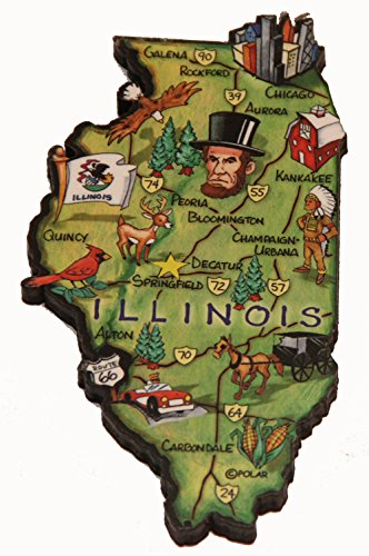 Illinois State Decowood Jumbo Wood Fridge Magnet 4.5 (Fridge Illinois Magnet)