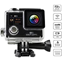 4K Action Camera Soonpam Wifi 1080P Sports Camera Waterproof 30M(Black)
