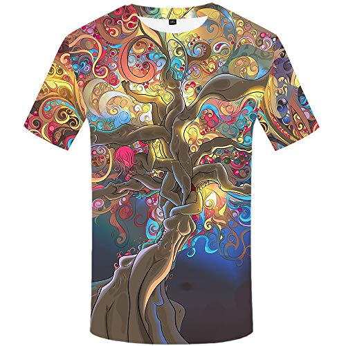 KYKU Tree Shirt Men Short Sleeve Funny Graphic Tees Sexy Print 3D Pattern Shirts (X-Large)