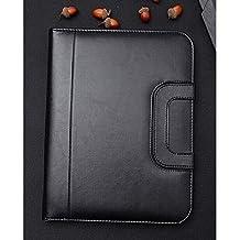 PU Leather Portable Handle Zippered File Padfolio A4 Folder Business Office Portfolio Zipper Organiser with Calculator (Black)