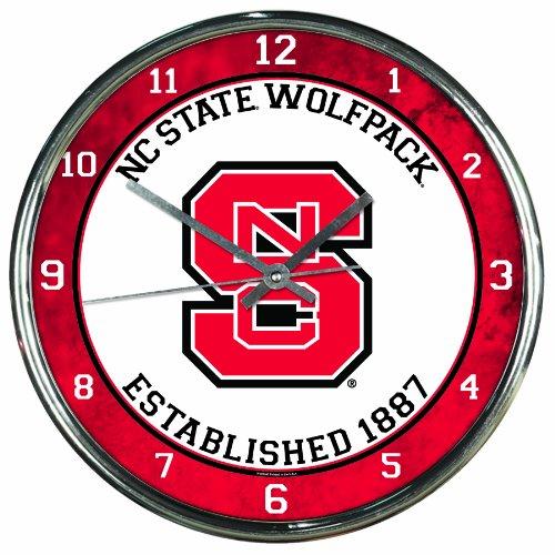 (NCAA North Carolina State Wolfpack Chrome Clock, 12