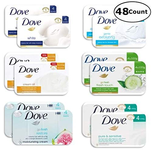 Dove Delight Bar Soaps, Variety Pack , Total 48 Count - 3.52
