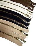 Metal Zipper Set 8 pcs - #3 Antique Brass Close-end, 12 Inch/30 cm - by Beaulegan