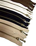 Metal Zipper Set 8 pcs - #3 Antique Brass Close-end, 12 Inch/30 cm, Assorted - by Beaulegan