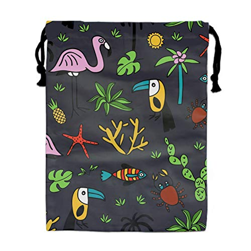 Summer Sea Animal Drawstring Bags Party Favors Bags(1 Pack), Personalised Birthday Fabric Party Goodie Bag Gift for Kids Boys & Girls