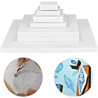 Cren 8 Pack White Rubber Carving Blocks Printing Linoleum Block Soft Craft Tools for DIY Carving Printing Stamping
