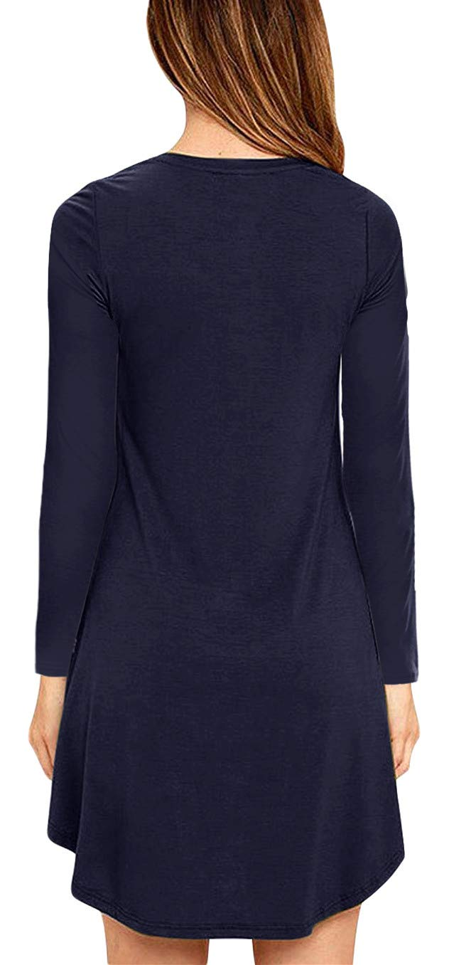Eanklosco Womens Casual Short Sleeve Plain Pocket V Neck T Shirt Tunic Dress (Navy Blue-1, 2XL)
