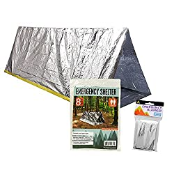 Survival Shelter Emergency Pack With Space Blanket - This Emergency Survival Pack Includes A 2 Person Survival Tent & Emergency Survival Blanket (Rope Included)