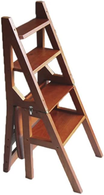 Escalera Multifuncional de Madera Maciza Silla Cocina de hogar Escaleras Plegables de Doble Uso Silla movible Escalera Ascendente de 4 Pasos (Color : B): Amazon.es: Hogar