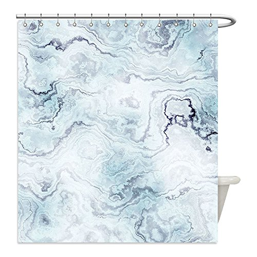 Liguo88 Custom Waterproof Bathroom Shower Curtain Polyester Marble Soft Pastel Toned Abstract Hazy Wavy Pattern with Ottoman Influences Image Light Blue Grey Mint Decorative bathroom (Ottoman Target Threshold)