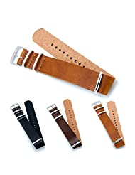 CIVO PU Leather NATO Zulu Military G10 Watch Band Strap 18mm 20mm 22mm with TOP Spring Bar Tool and Spring Bars Bonus