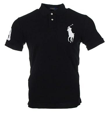 4d54799c1108c3 Ralph Lauren Herren Polo - Custom Slim Fit - Schwarz mit weißem Reiter  (Schwarz