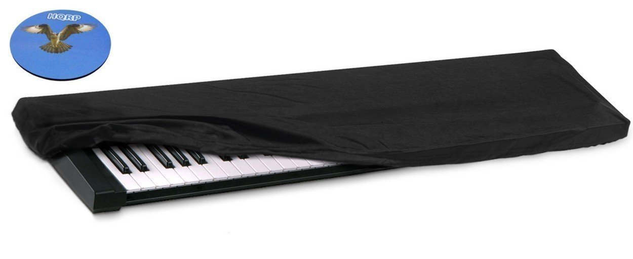 HQRP Elastic Dust Cover w/ Bag for Casio Privia PX-150 / PX150 / PX-150BK / PX150BK / PX-150PKG / PX150PKG Electronic Keyboard Digital Piano + HQRP Coaster 887774711151578