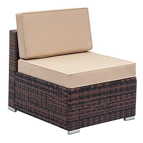 - AK Energy 1PC Patio PE Rattan Sofa Seat Brown Garden Lawn Wicker Single Sofa Beige Cushion Seating