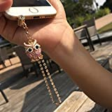 Cell Phone Charm Anti Dust Plug Pink Owl Accessory